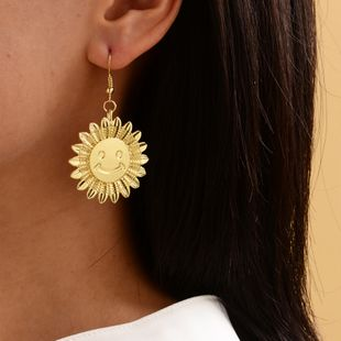 new sun flower gold-plated earrings ladies simple fashion smiley earrings women NHOT228003's discount tags