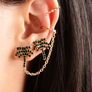 new gold-plated crystal brown tree earrings wholesale fashion ear clips women  NHOT228002's discount tags