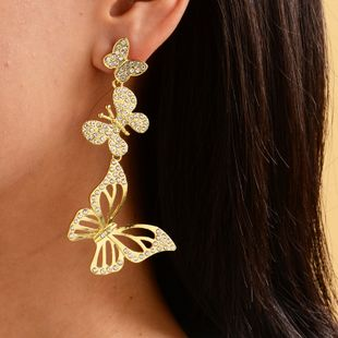 fashion full diamond crystal butterfly earrings ladies street shooting fashion gold-plated earrings  NHOT228000's discount tags