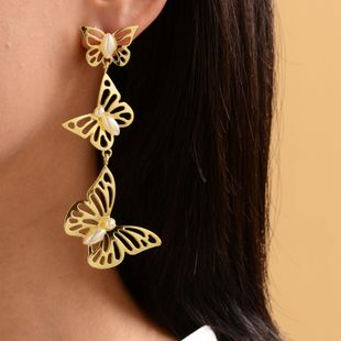 hot selling explosion models fashion pearl butterfly earrings wholesale nihaojewelry NHOT227998's discount tags