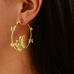 new fashion gold-plated large circle butterfly earrings simple with earrings wholesale nihaojewelry NHOT227996's discount tags