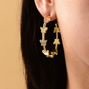 New gold-plated crystal butterfly large circle earrings fashion earrings wholesale nihaojewelry NHOT227992's discount tags