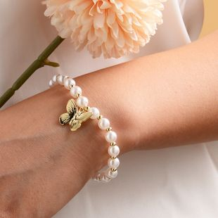 New Pearl Butterfly Bracelet Fashion Lady Jewelry Woman wholesale nihaojewelry NHOT227987's discount tags