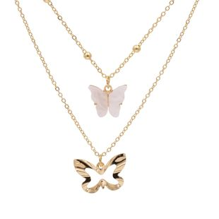 Korea popular simple butterfly necklace hollow butterfly shape stacked double necklace wholesale nihaojewelry NHJJ228037's discount tags