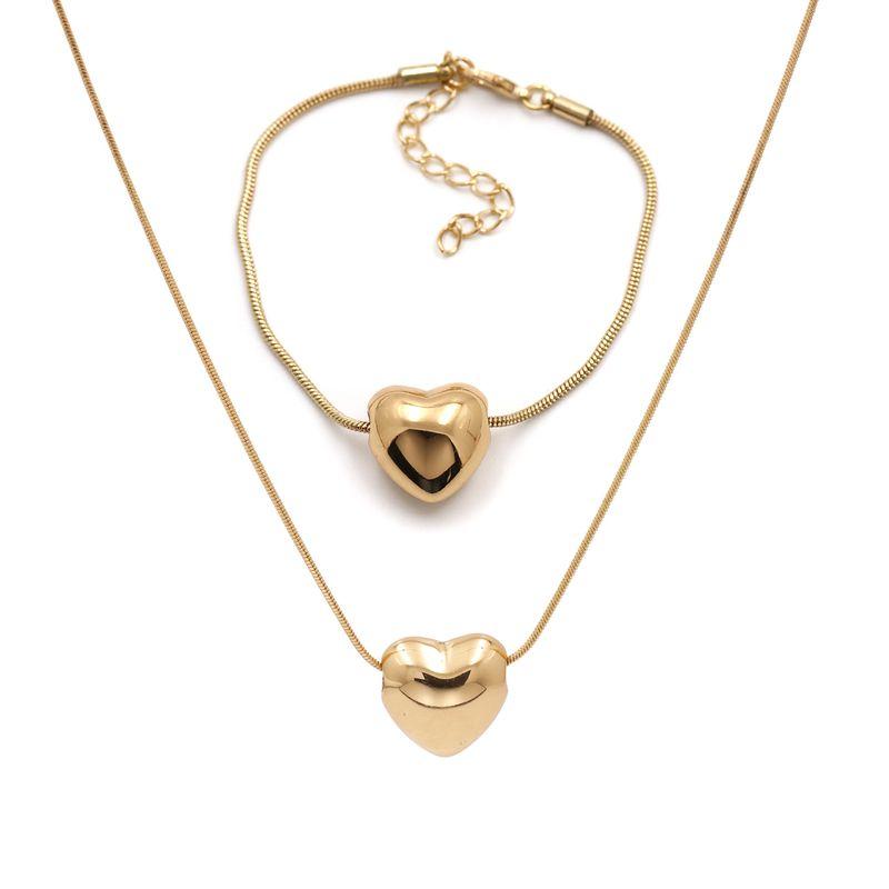 Korea simple metal love pendant necklace bracelet set jewelry accessories wholesale nihaojewelry NHJJ228039