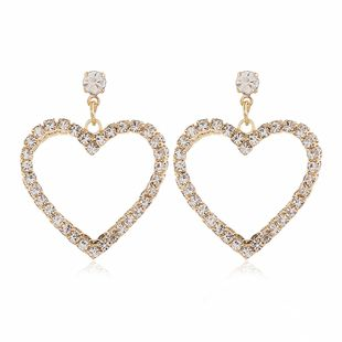 new tide alloy double-layer diamond love earrings wild simple fashion earrings wholesale nihaojewelry NHVA228069's discount tags