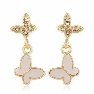 Korean fashion earrings small and cute butterfly diamond earrings fashion exaggerated earrings wholesale nihaojewelry NHVA228072's discount tags