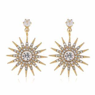 Korean popular flower earrings fashion alloy diamond sunflower earrings wholesale nihaojewelry NHVA228084's discount tags