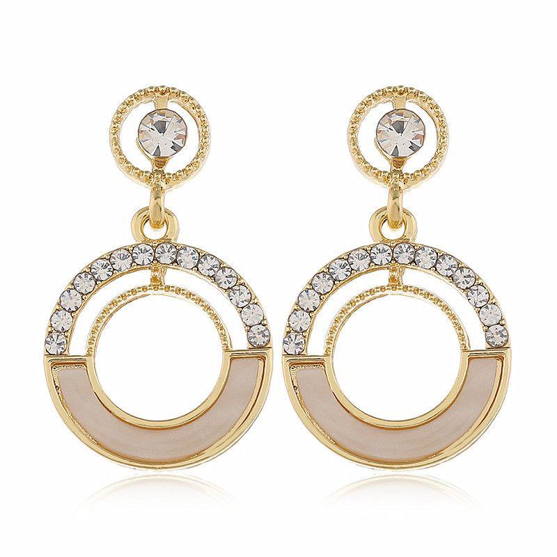 fashion diamond circle ear jewelry long geometric earrings wholesale nihaojewelry NHVA228086