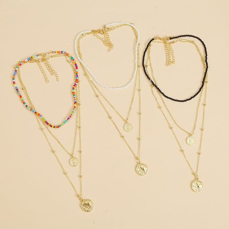 Bohème multicouche trois multicolore collier de perles de riz collier pièce de monnaie pendentif bijoux en gros nihaojewelry NHLA228097's discount tags