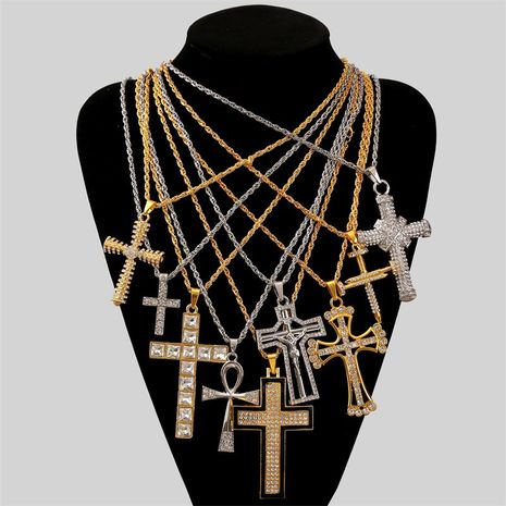 exaggerated hip hop cross necklace creative hip-hop rhinestone pendant jewelry wholesale nihaojewelry NHLA228098's discount tags