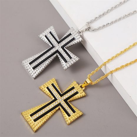 Exaggerated geometric hip hop cross necklace men's trend hip-hop pendant jewelry wholesale nihaojewelry NHLA228099's discount tags