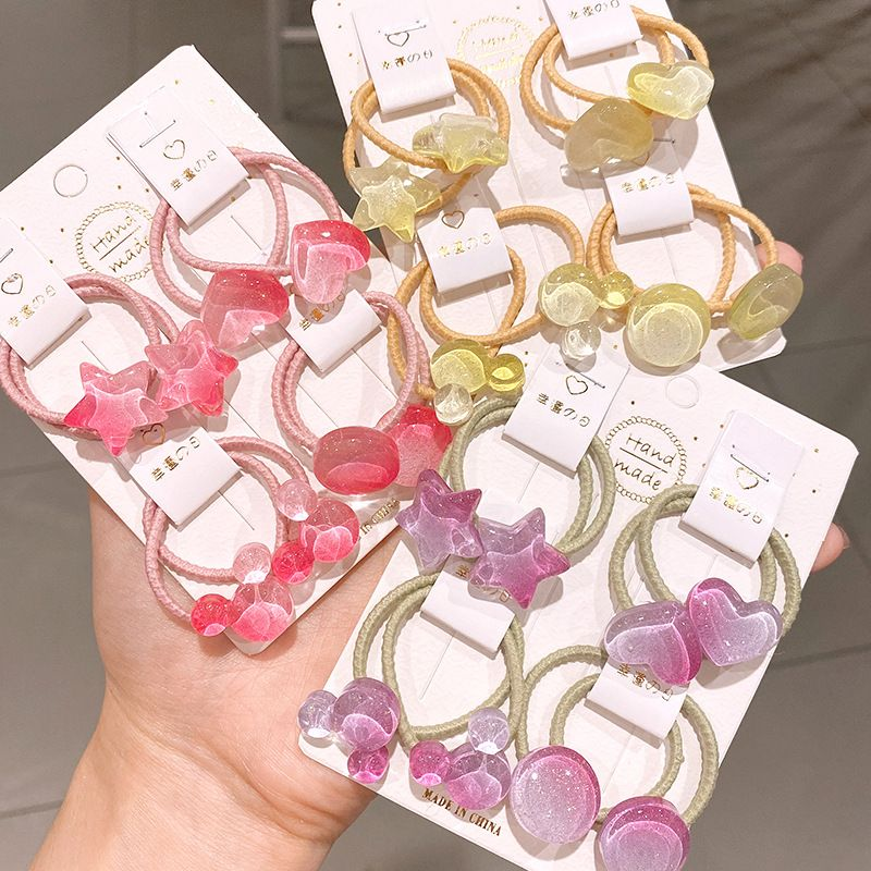 Children's hair scrunchies transparent jelly color love five-pointed star hair ring girl's hair tie hair band head rope baby hair accessories NHSA228103