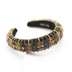 New style Baroque fashion sponge color rhinestone headband prom catwalk women's hair accessories wholesale nihaojewelry NHWJ228105's discount tags