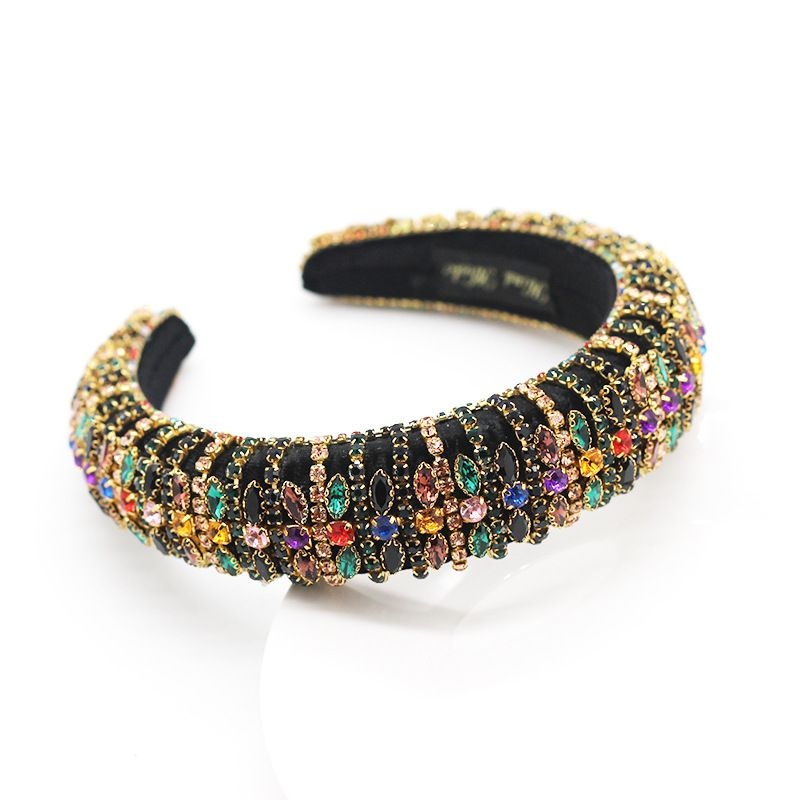 New style Baroque fashion sponge color rhinestone headband prom catwalk womens hair accessories wholesale nihaojewelry NHWJ228105