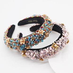 New style fashion sponge crystal metal flower luxury headband prom hair ornament wholesale nihaojewelry NHWJ228106's discount tags