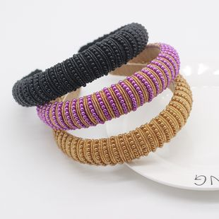 New fashion multicolor wild Korean rice beads braided headband hair wholesale nihaojewelry NHWJ228107's discount tags