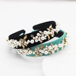 New fashion simple style pearl diamond velvet narrow side travel hair accessories wholesale nihaojewelry NHWJ228109's discount tags