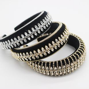 new sponge hairband luxury beautiful rhinestone tassel hairband ladies dance exaggerated hair accessories wholesale nihaojewelry NHWJ228110's discount tags