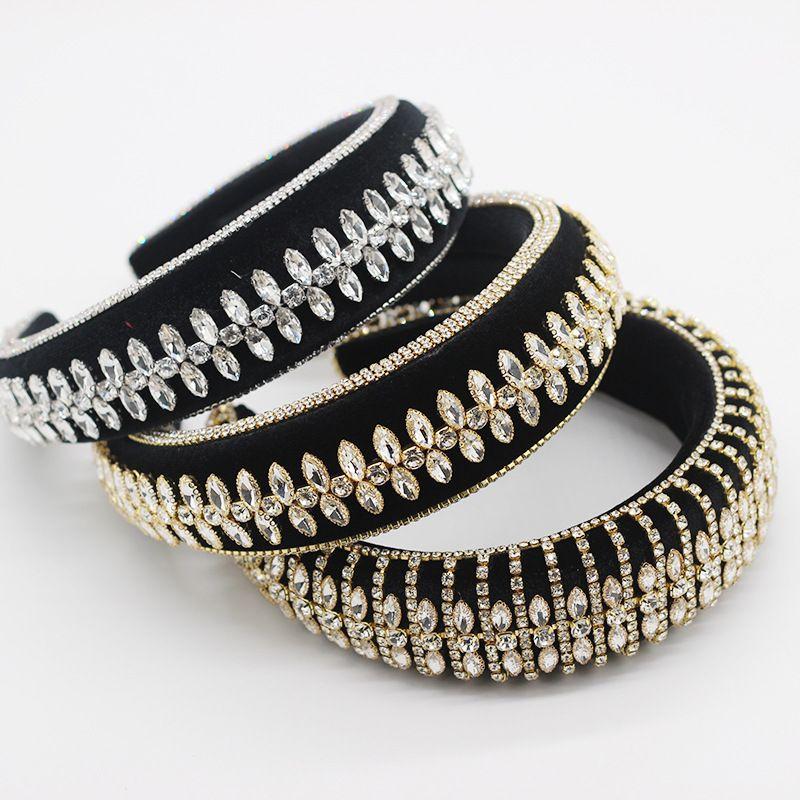 new sponge hairband luxury beautiful rhinestone tassel hairband ladies dance exaggerated hair accessories wholesale nihaojewelry NHWJ228110