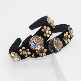 Baroque retro fashion headband metal flowers diamond gems ladies hair band wholesale nihaojewelry NHWJ228112's discount tags