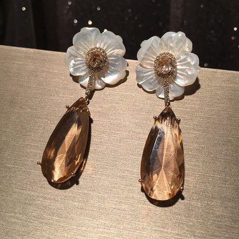 Flower earrings S925 silver needle petals spring long tassel luxury large water drop earrings wholesale nihaojewelry NHWK228114's discount tags