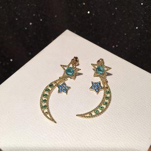 Star moon earring simple S925 silver needle long hollow blue transparent earrings wholesale nihaojewelry NHWK228116's discount tags