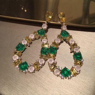 water drop earrings summer S925 silver needle emerald exaggerated candy color earrings wholesale nihaojewelry NHWK228117's discount tags
