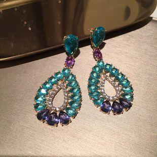 Blue flower earrings long tassel exaggerated elegant S925 silver needle evening dress water drop earrings wholesale nihaojewelry NHWK228118's discount tags