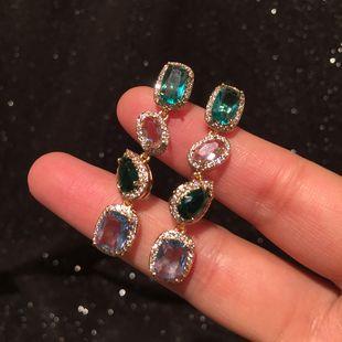 Square drop earrings color S925 silver needle summer geometric tassel candy earrings wholesale nihaojewelry NHWK228120's discount tags
