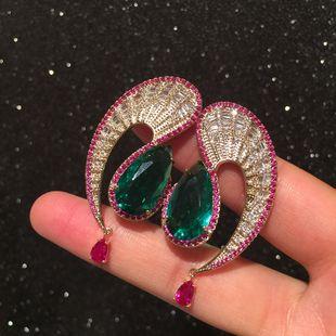 Wave drop earrings exaggerated retro contrast emerald tassel S earrings wholesale nihaojewelry NHWK228122's discount tags