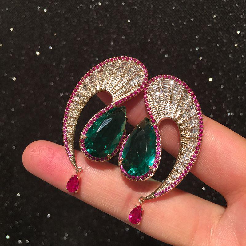 Wave drop earrings exaggerated retro contrast emerald tassel S earrings wholesale nihaojewelry NHWK228122