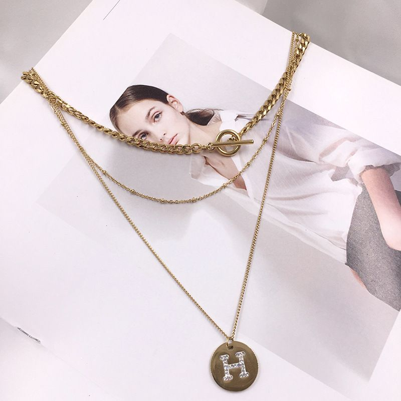 Alphabet gold necklace fading exaggerated multi-layer chain titanium steel clavicle chain wholesale nihaojewelry NHWK228126