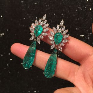 Green crystal earrings exaggerated long tassel candy color earrings wholesale nihaojewelry NHWK228128's discount tags