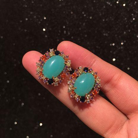 Vert rétro boucles d'oreilles petit et simple S925 argent aiguille lumière luxe élégant doux bonbons couleur boucles d'oreilles en gros nihaojewelry NHWK228131's discount tags