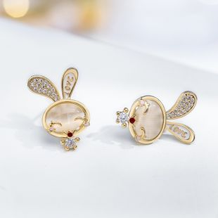 925 silver needle cute rabbit earrings cute decoration simple fashion earrings wholesale nihaojewelry NHPP228144's discount tags