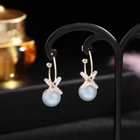 Korea S925 silver needle semi-circular C-shaped earrings zircon flower earrings fashion pearl earrings wholesale nihaojewelry NHDO228155's discount tags