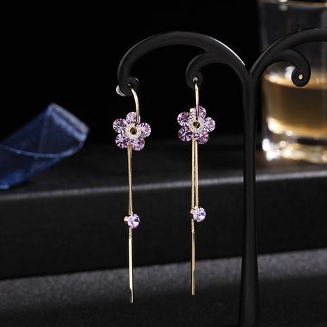 new C ring small gold flower tassel earrings a multi-wear tassel 925 silver needle purple earrings wholesale nihaojewelry NHDO228156's discount tags