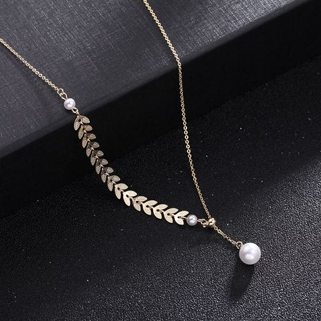 Korean simple golden wheat ear pearl necklace explosion models adjustable clavicle chain neck chain wholesale nihaojewelry NHDO228157's discount tags