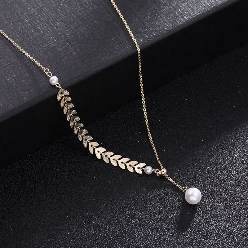 Korean simple golden wheat ear pearl necklace explosion models adjustable clavicle chain neck chain wholesale nihaojewelry NHDO228157