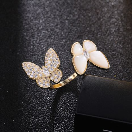 Korean new three-dimensional butterfly ring mother-of-pearl ring wholesale nihaojewelry NHDO228168's discount tags