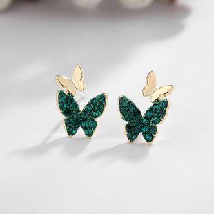 jewelry simple light luxury micro-set zircon butterfly earrings S925 silver needle new earrings wholesale nihaojewelry NHDO228172's discount tags