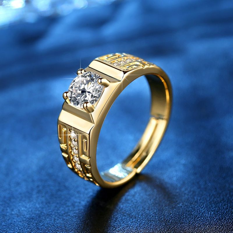 zircon opening wedding ring gold plated domineering 18K gold plated Great Wall pattern men's ring new earrings wholesale NHKN228179