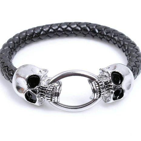 estilo punk cráneo pulsera de cuero trenzado pulsera de hombre exagerada pequeña joyería al por mayor nihaojewelry NHKN228180's discount tags