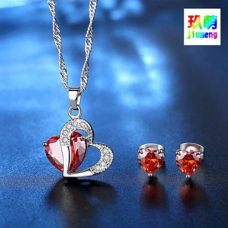 ensemble de bijoux en zircon en forme de coeur boucles d'oreilles collier coeur ensemble coeur serti de chaîne en gros nihaojewelry NHKN228181's discount tags