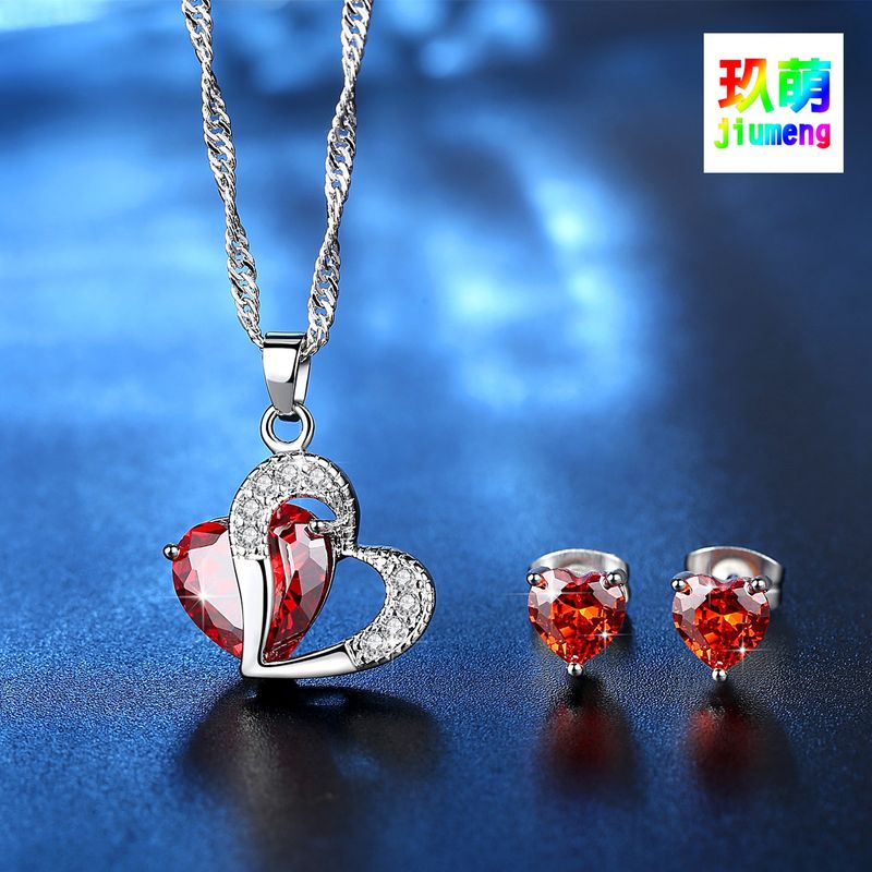 heart-shaped zircon jewelry set heart necklace earrings set heart set with chain wholesale nihaojewelry NHKN228181