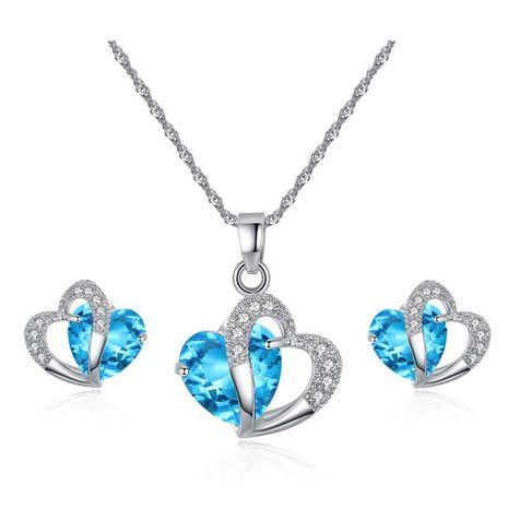 Simple et élégant coeur bleu boucle d'oreille ensemble zircon micro incrusté double coeur collier court boucle d'oreille ensemble en gros nihaojewelry NHKN228183's discount tags
