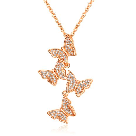 18K Silver Rose Gold Necklace Women's Short Korean Fashion Four Butterfly Diamond Clavicle Chain Micro Inlaid Zircon wholesale nihaojewelry NHKN228185's discount tags