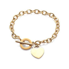 fashion love stainless steel bracelet peach heart-shaped letter rose gold bracelet T-shaped titanium steel bracelet wholesale nihaojewelry NHKN228198