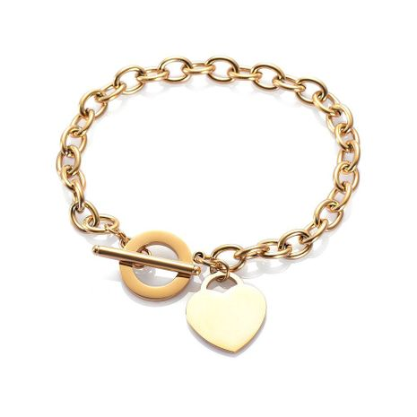 fashion love stainless steel bracelet peach heart-shaped letter rose gold bracelet T-shaped titanium steel bracelet wholesale nihaojewelry NHKN228198's discount tags